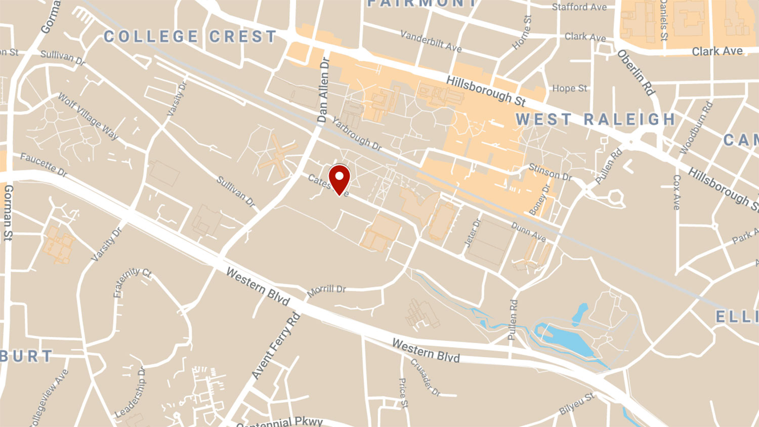 Map of NC State's North Campus