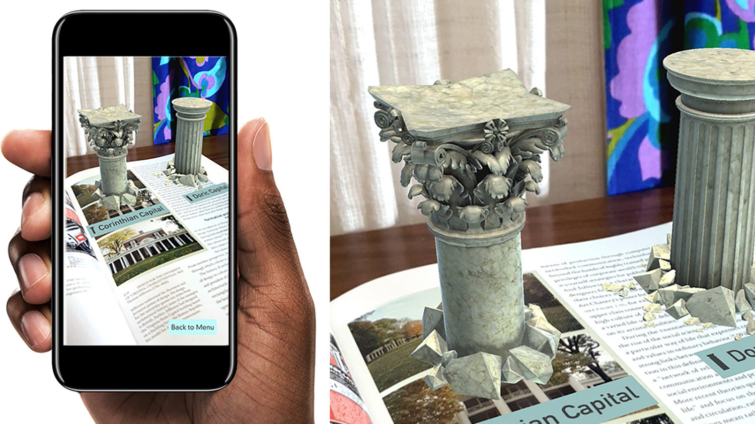 A view from the Graphic Design Theory augmented reality application.