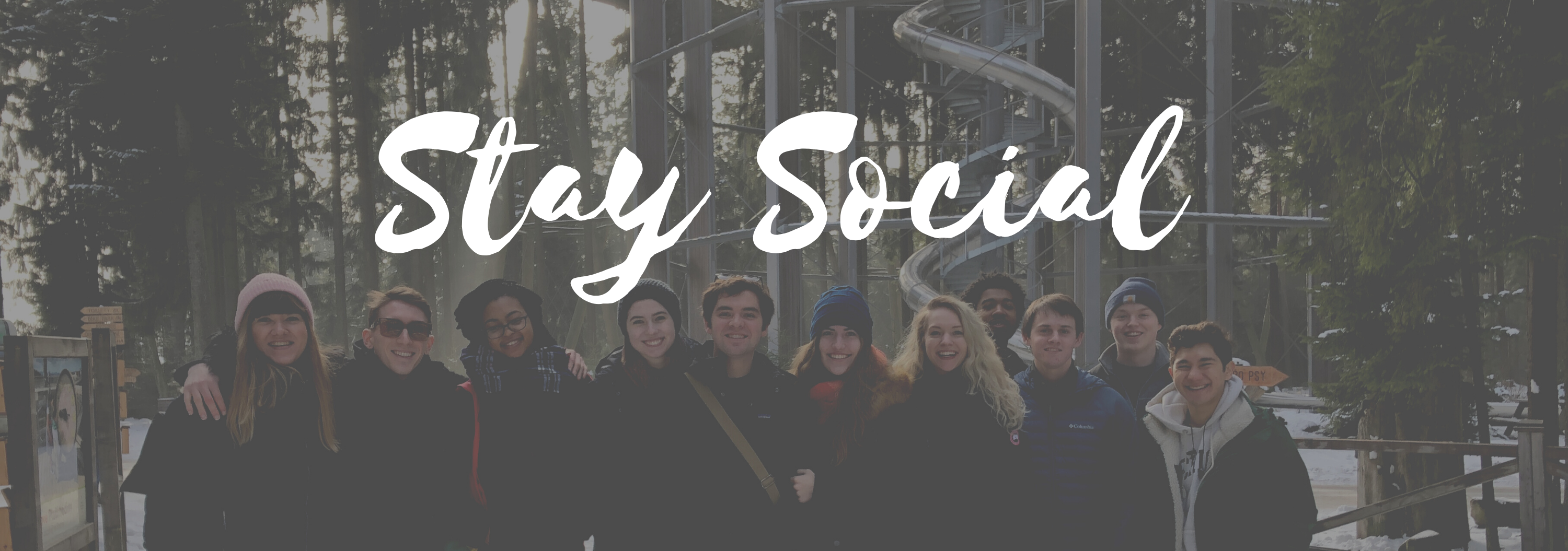 stay social-graphic-group of students holding by the arms happily