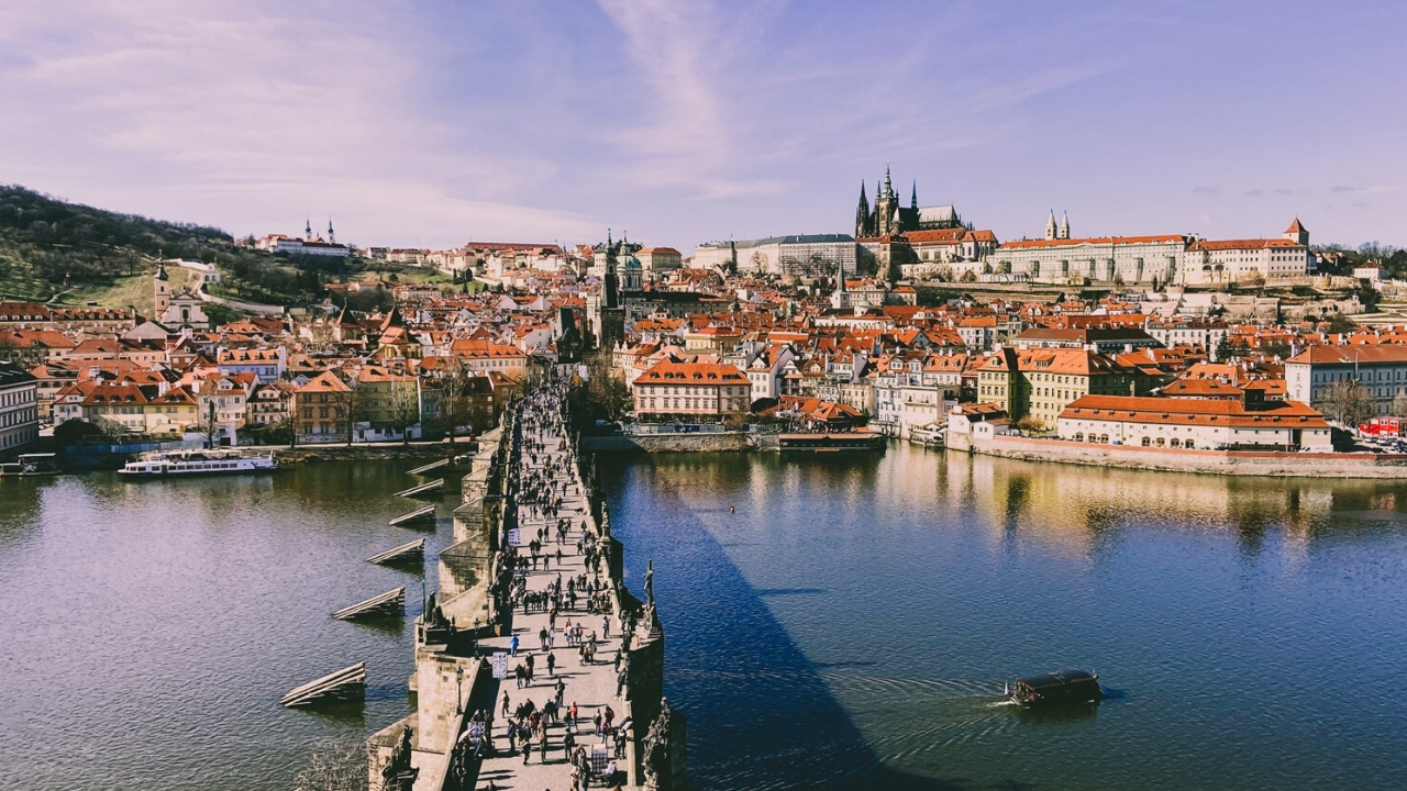 A view on the Charles Bridge and Prague Castle Spring 2020