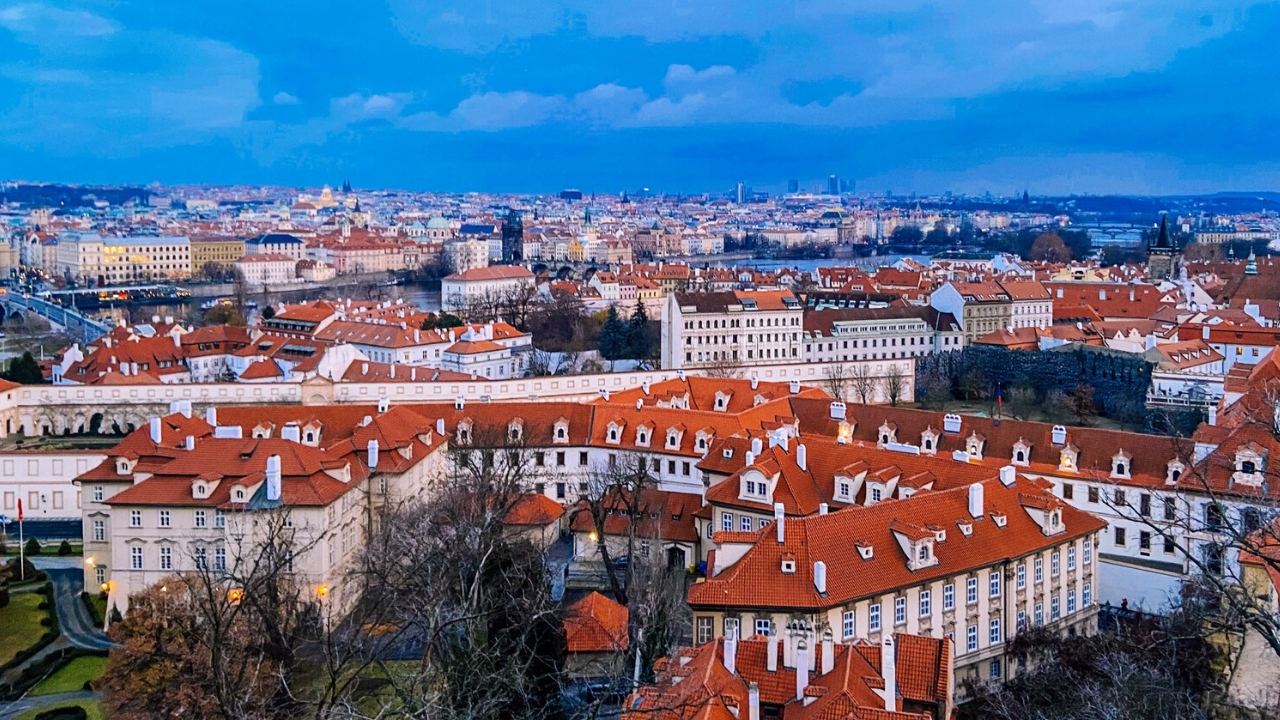 View on Prague red rooftops