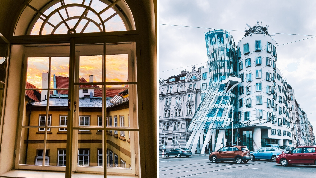 NC State Prague window and the Dancing House