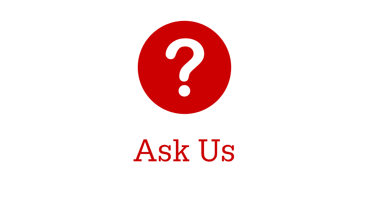 Red circle with question mark with the title Ask Us and information session title