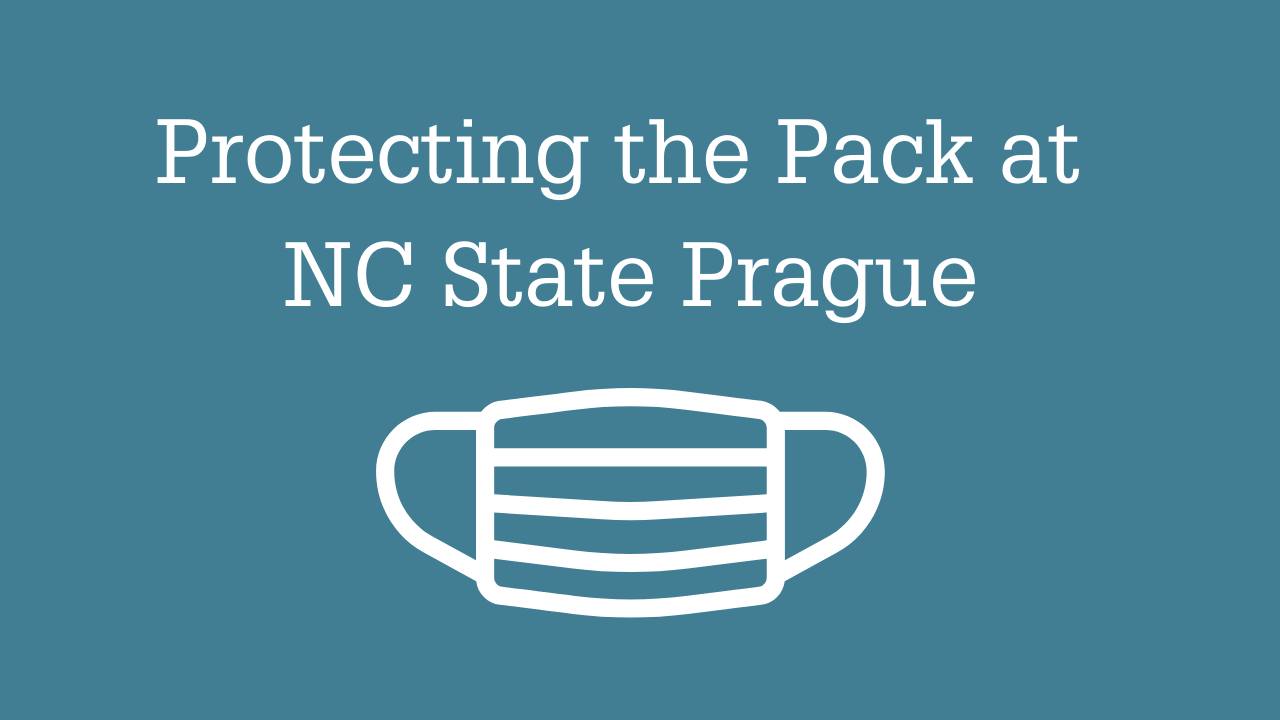 Protecting the Pack at NC State Prague title with a graphic of a protecting mask on a blue background