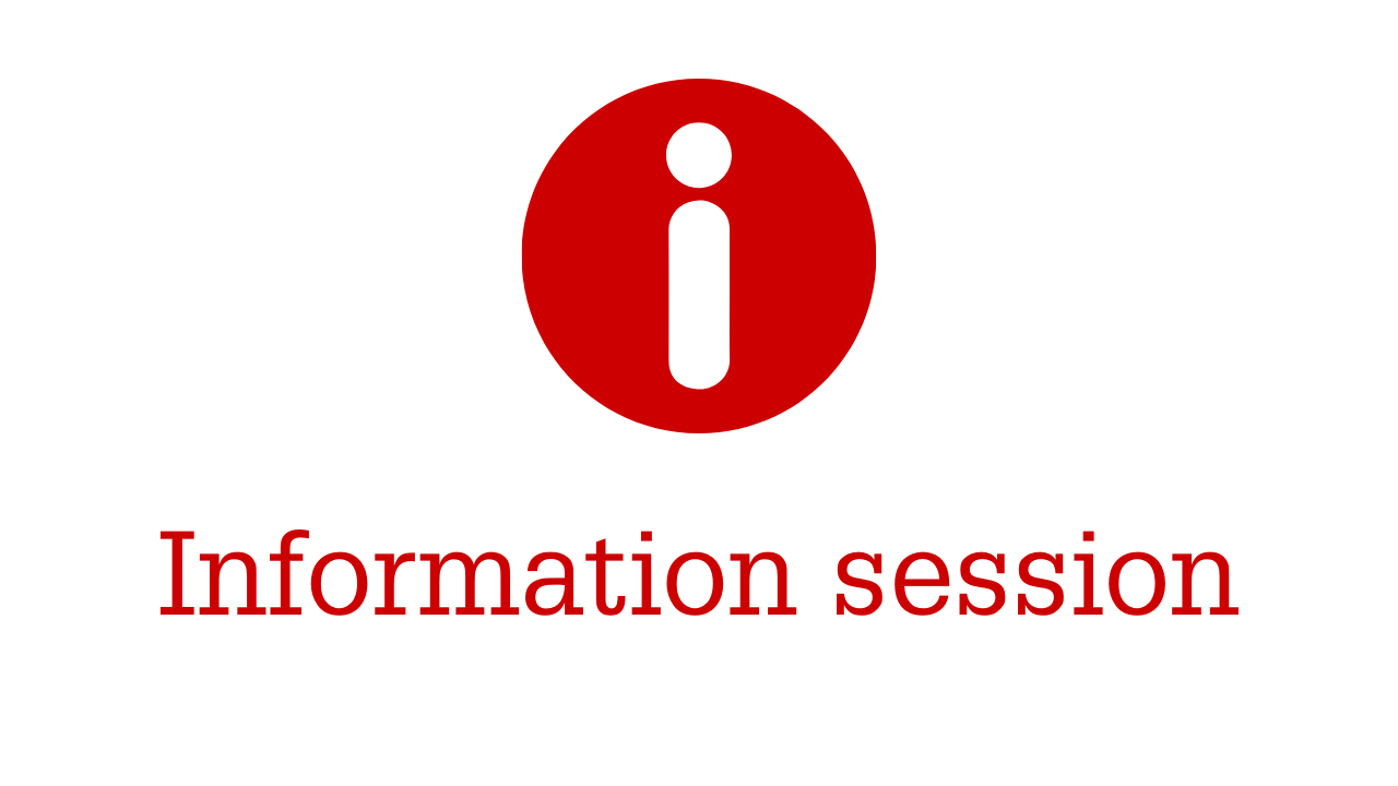 Red circle with letter I and information session title